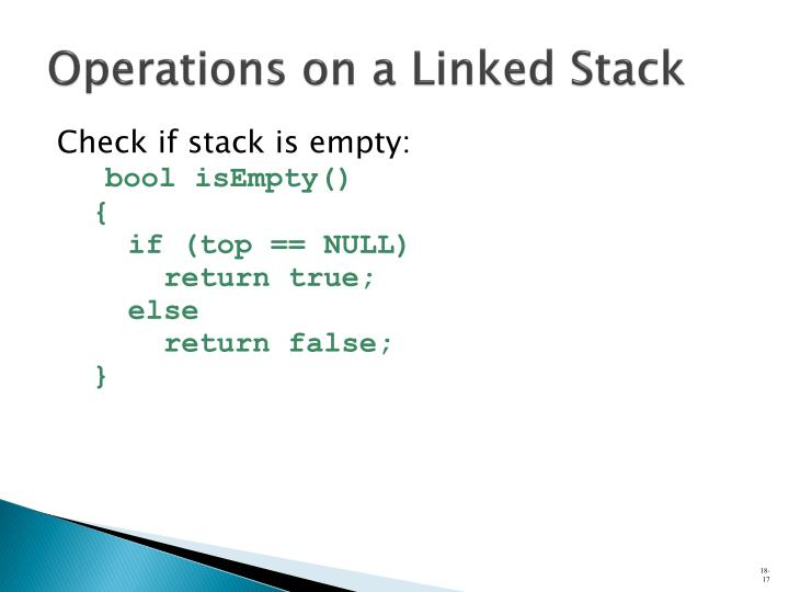 Operations on a Linked Stack