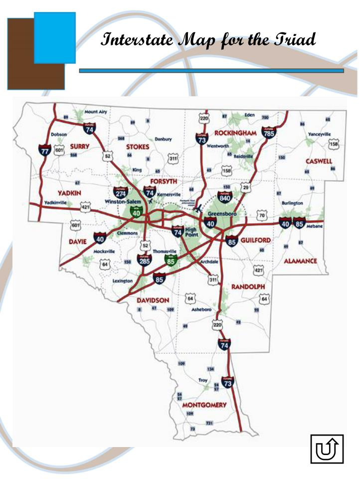 Interstate Map for the Triad