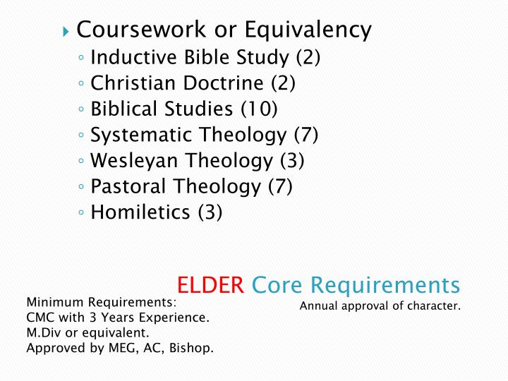 Coursework or Equivalency