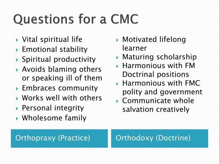 Questions for a CMC