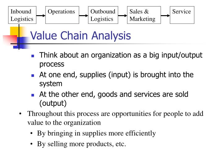an introduction to the analysis of value chain analysis Companies conduct value-chain analysis by looking at every production step required to create a product and identifying ways to increase the efficiency of the chain the overall goal is to deliver maximum value for the least possible total cost and create a competitive advantage.