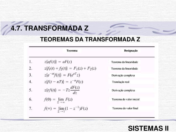 4.7. TRANSFORMADA Z