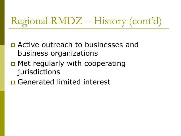 Regional rmdz history cont d