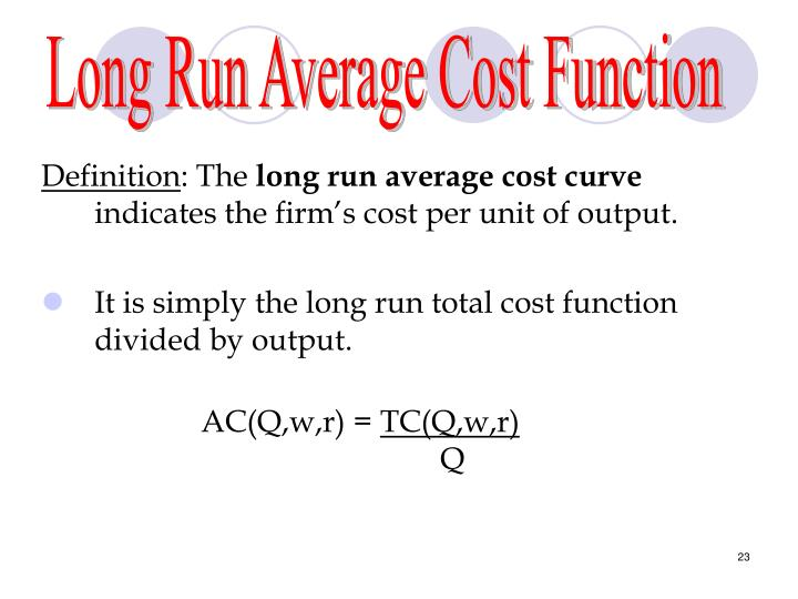 Long Run Average Cost Function