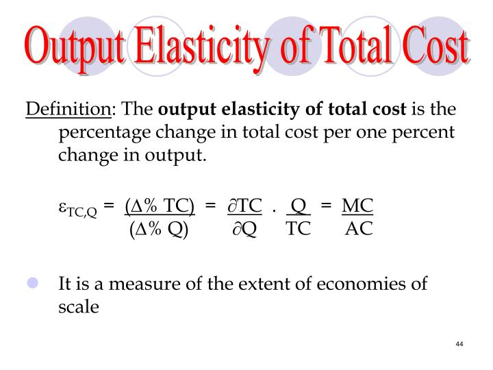 Output Elasticity of Total Cost