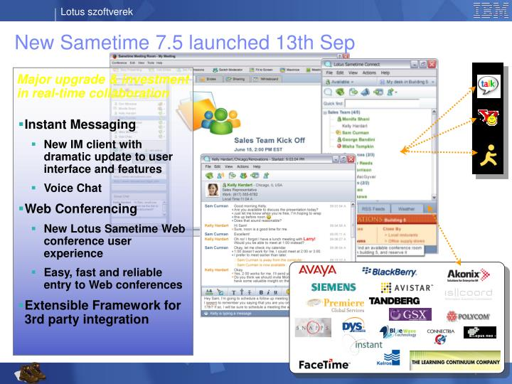 New Sametime 7.5 launched 13th Sep
