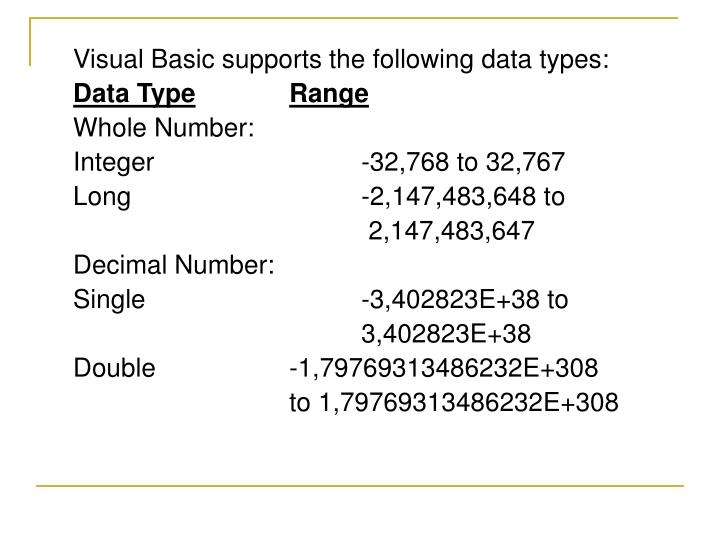 Visual Basic supports the following data types: