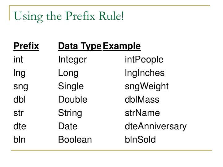 Using the Prefix Rule!