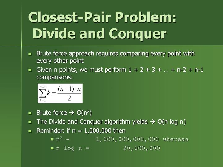 closest pair problem divide and conquer n.