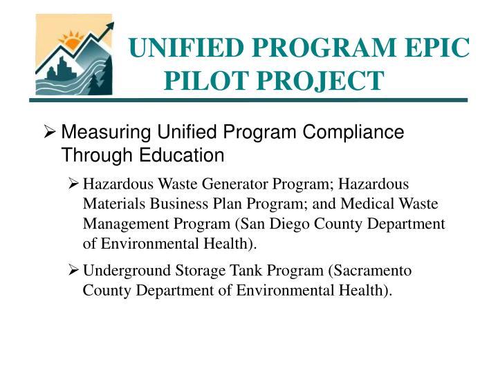UNIFIED PROGRAM EPIC PILOT PROJECT