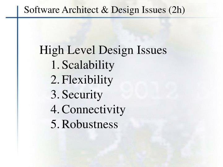 Software Architect & Design Issues (2h)