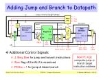 adding jump and branch to datapath