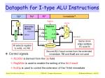 datapath for i type alu instructions