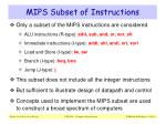 mips subset of instructions