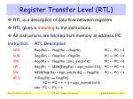 register transfer level rtl