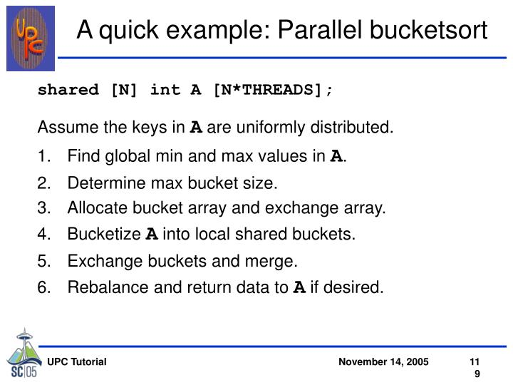 A quick example: Parallel bucketsort