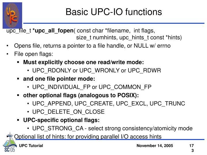 Basic UPC-IO functions