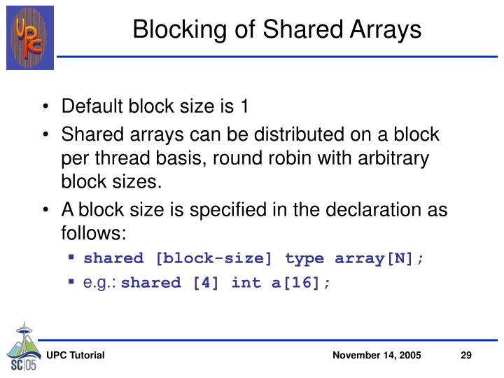 Blocking of Shared Arrays