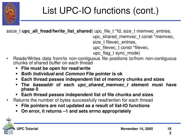 List UPC-IO functions (cont.)