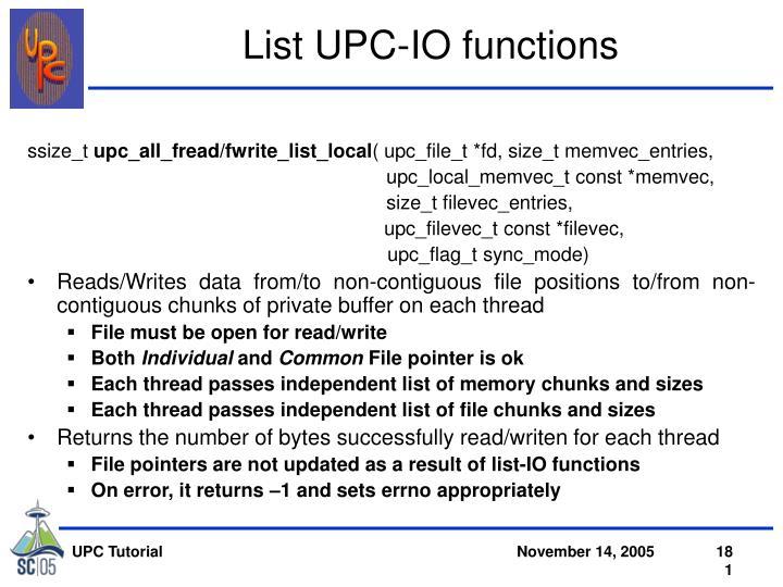 List UPC-IO functions