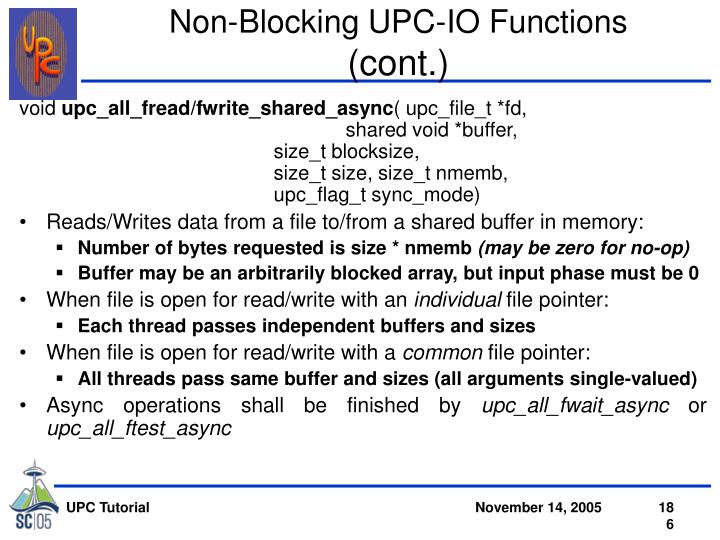 Non-Blocking UPC-IO Functions