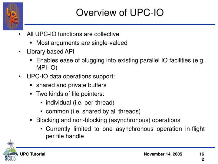 Overview of UPC-IO