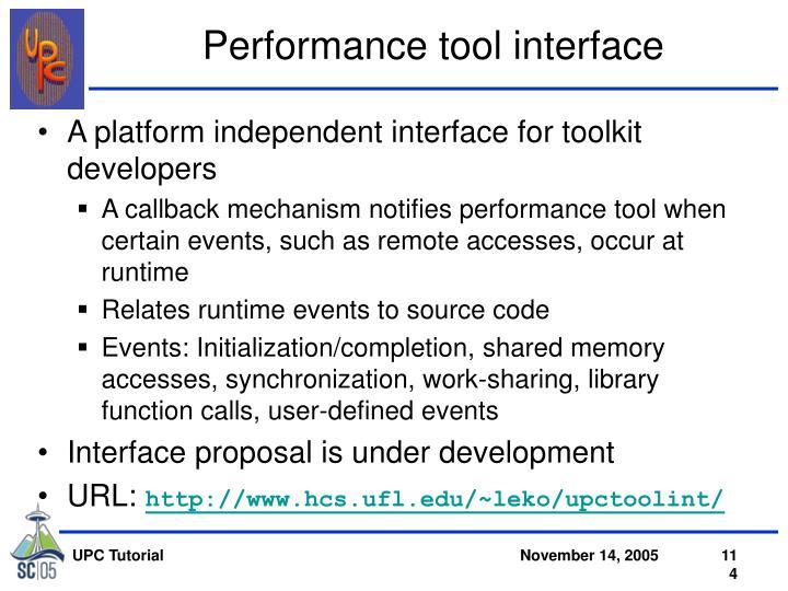 Performance tool interface