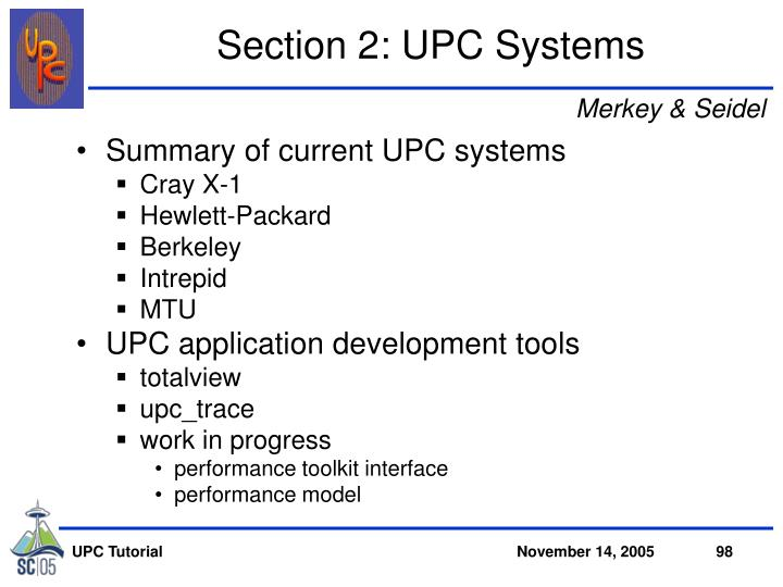 Section 2: UPC Systems