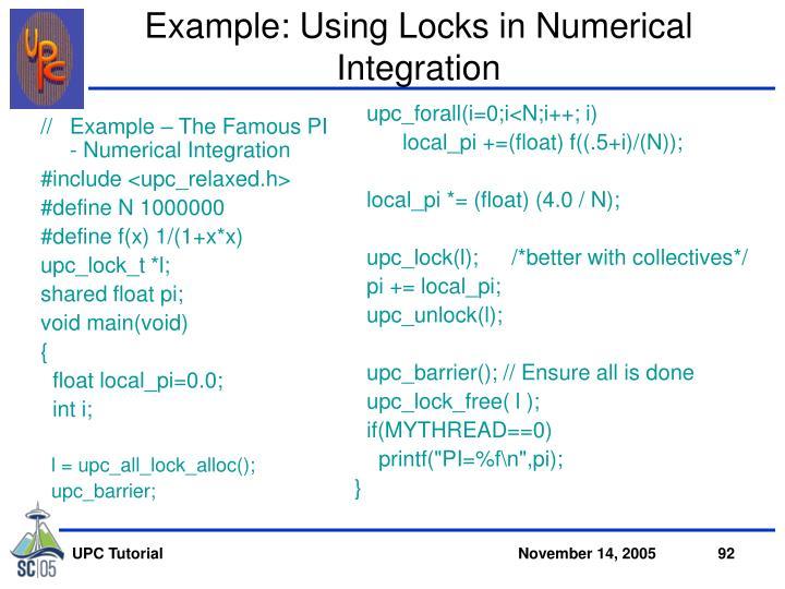 Example: Using Locks in Numerical Integration