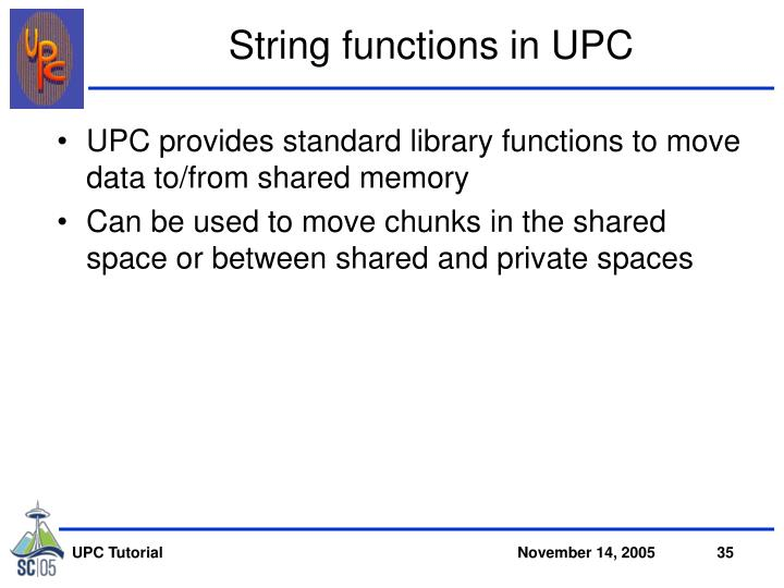 String functions in UPC