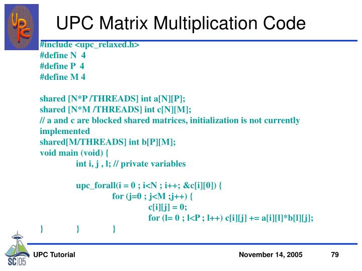 UPC Matrix Multiplication Code