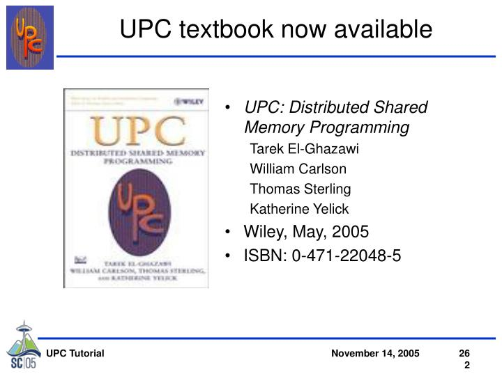 UPC textbook now available
