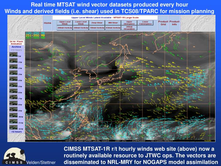 Real time MTSAT wind vector datasets produced every hour