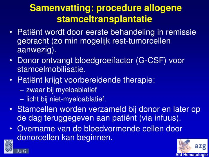 Samenvatting: procedure allogene stamceltransplantatie