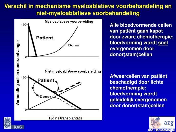 Verschil in mechanisme myeloablatieve voorbehandeling en niet-myeloablatieve voorbehandeling