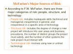 mcfarlan s major sources of risk