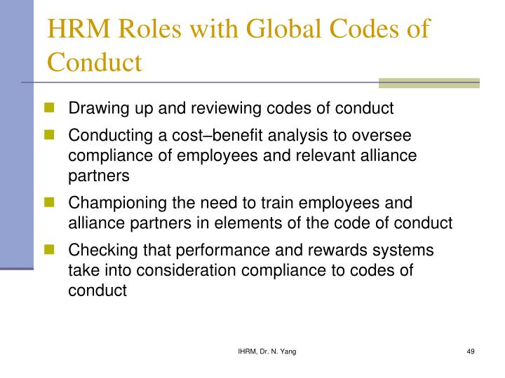 HRM Roles with Global Codes of Conduct