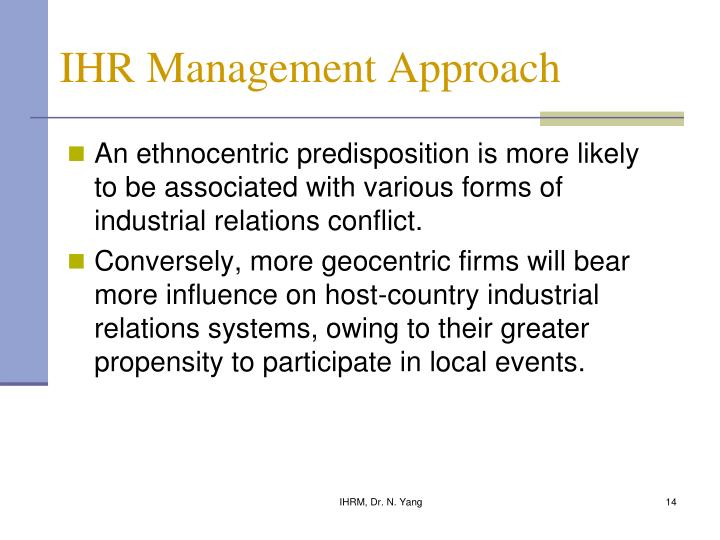 IHR Management Approach
