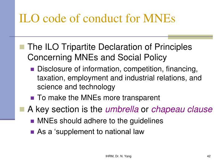 ILO code of conduct for MNEs