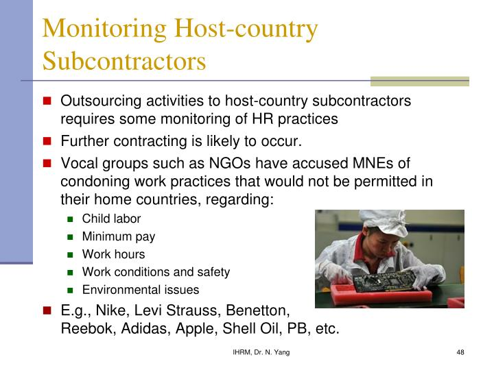 Monitoring Host-country Subcontractors