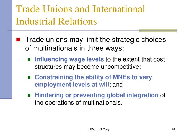 Trade Unions and International Industrial Relations