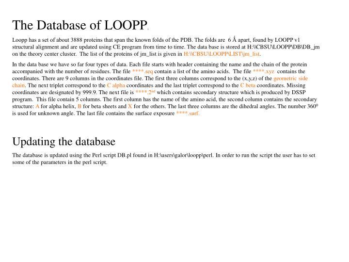 The Database of LOOPP