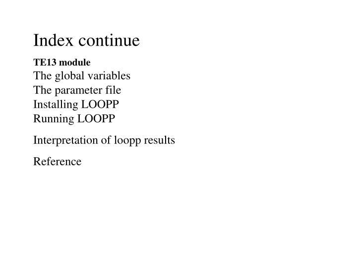 Index continue