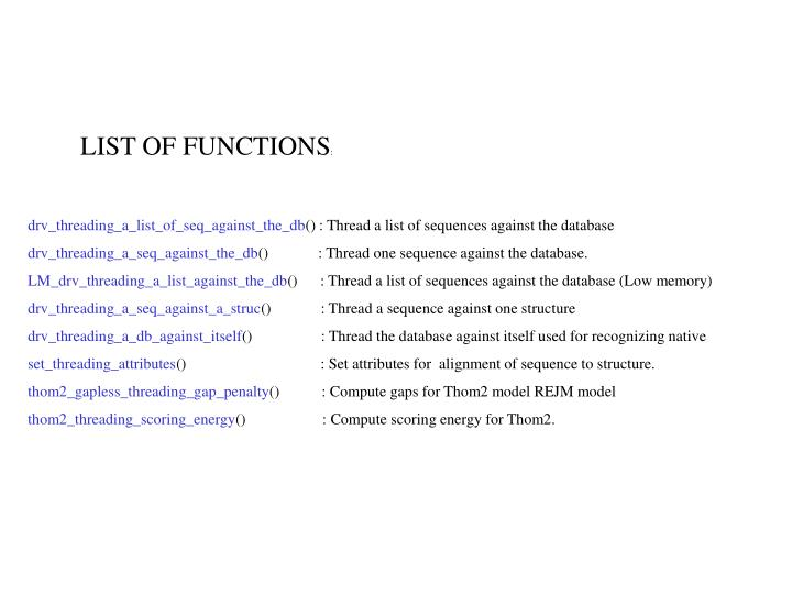 LIST OF FUNCTIONS