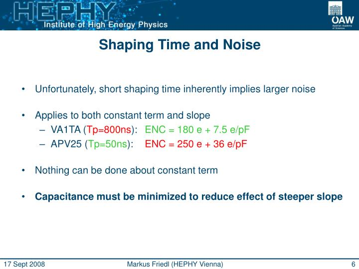 Shaping Time and Noise
