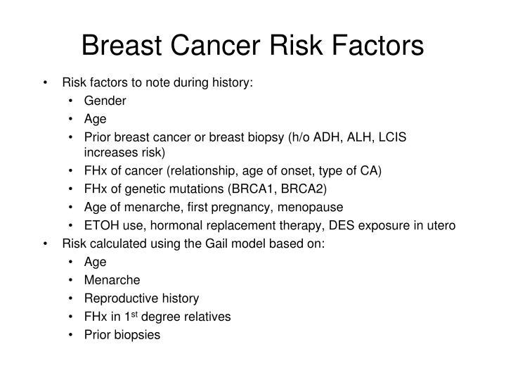 Breast cancer risk factors