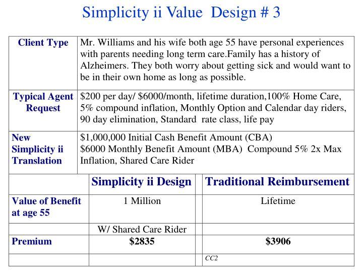 Simplicity ii Value  Design # 3