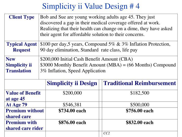Simplicity ii Value Design # 4
