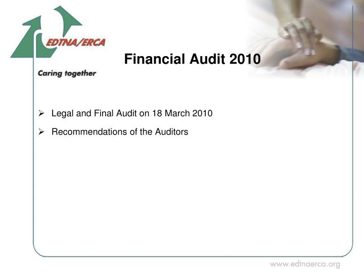 Legal and Final Audit on 18 March 2010