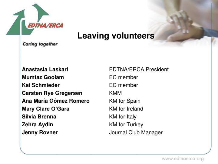 Leaving volunteers